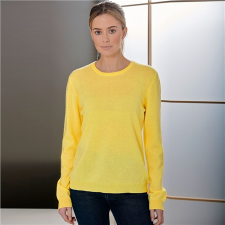 Brodie 'Rolo' 100% Cashmere Round Neck Jumper - Yellow  - Click to view a larger image