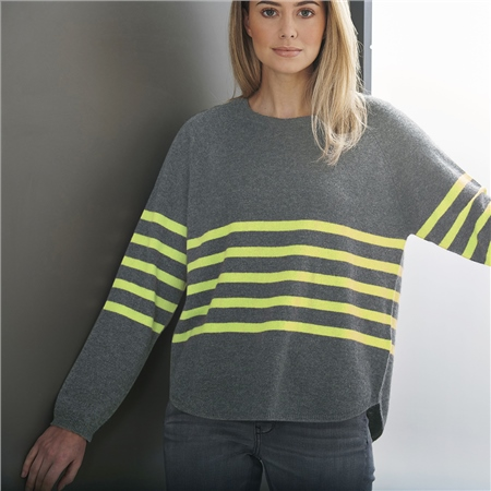 Brodie 'Stripe' 100% Cashmere Scoop Hem Jumper