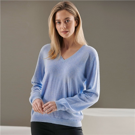 Brodie 100% Cashmere Classic V-Neck Jumper - Arctic Blue  - Click to view a larger image