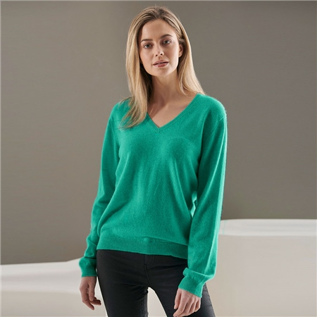 Brodie 100% Cashmere Classic V-Neck Jumper - Atlantis  - Click to view a larger image
