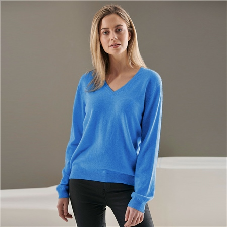 Brodie 100% Cashmere Classic V-Neck Jumper - Sailor Blue  - Click to view a larger image