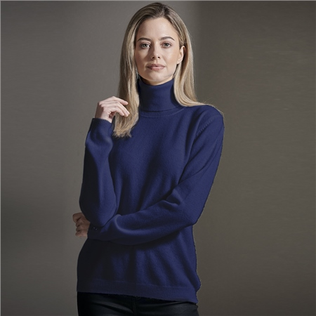 Brodie 100% Cashmere Roll Neck Jumper - Oxford Blue