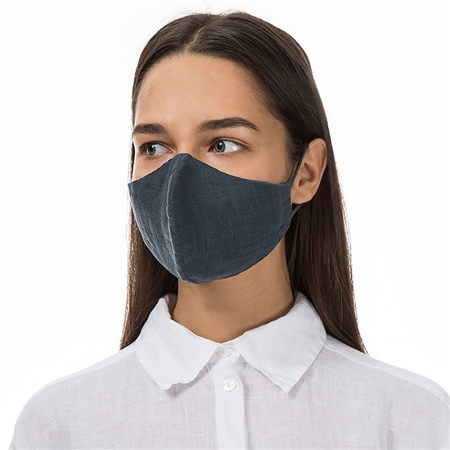 Grizas Reusable Linen Face Mask - Dark Grey  - Click to view a larger image