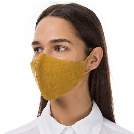 Grizas Reusable Linen Face Mask - Mustard  - Click to view a larger image