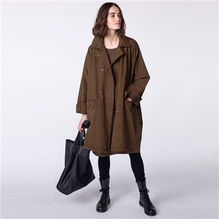 Oska 'Shoho' 100% Cotton Twill Oversized Coat - Alpaca  - Click to view a larger image