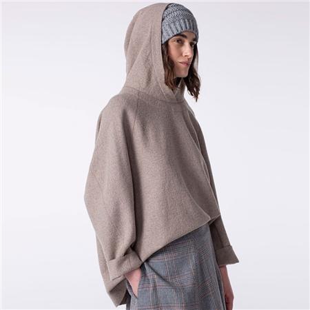 Oska 'Ciheba' Wool/Cotton Hoodie - Nude  - Click to view a larger image