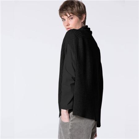 Oska 'Zelo' Virgin Wool/Alpaca Ribbed Sleeveless Jumper - Black  - Click to view a larger image