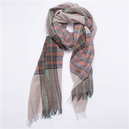 Oska Wool/Cashmere Check Scarf - Camel  - Click to view a larger image