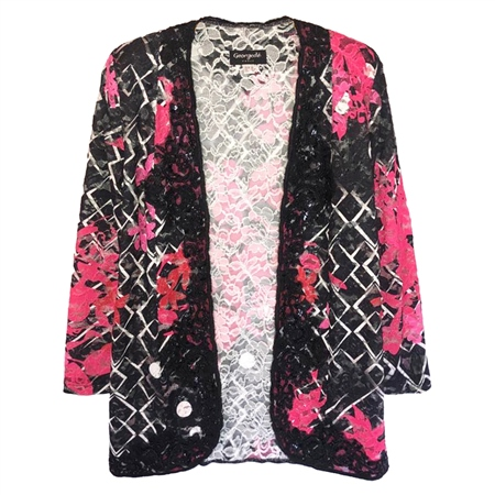 Georgede Embellished Floral Lace Cover-Up Jacket  - Click to view a larger image