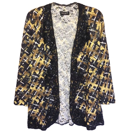 Georgede Embellished Squares Lace Cover-Up Jacket  - Click to view a larger image