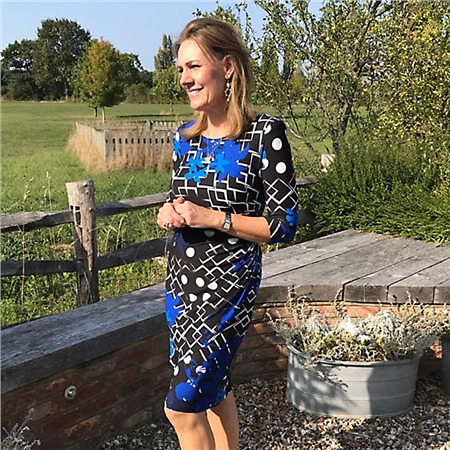 Georgede Floral And Squares Print Crossover Dress