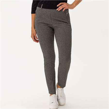 Brax 'Lillyth' Houndstooth Print Pull-On Trousers - Black  - Click to view a larger image