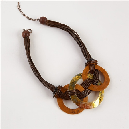 Dante Hoop Discs Cord Necklace - Brown  - Click to view a larger image