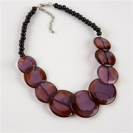 Dante Purple Disc Beads Necklace - Purple  - Click to view a larger image