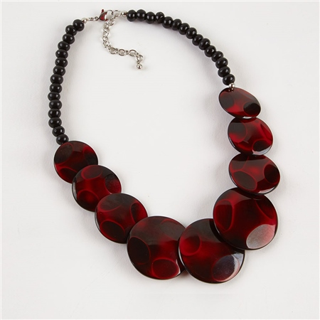Dante Purple Disc Beads Necklace - Red  - Click to view a larger image