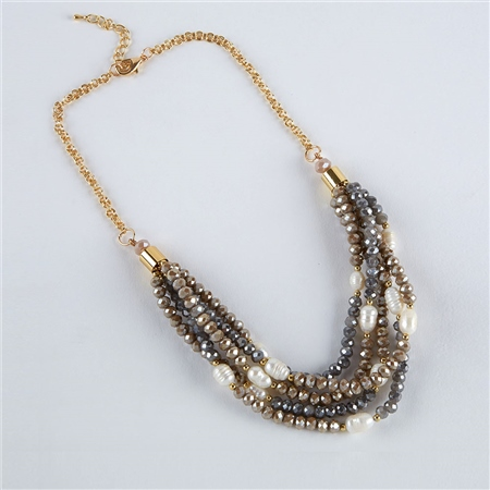 Dante Faceted Beads & Pearls Necklace - Multi  - Click to view a larger image
