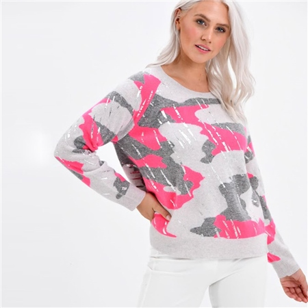 Brodie 'Wild' Camouflage Jumper - Ash Festival Neon Pink  - Click to view a larger image