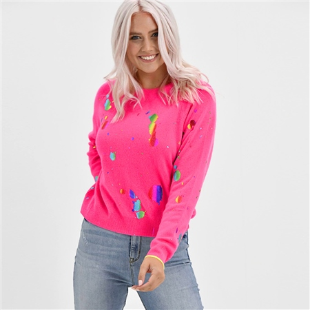 Brodie 'Shout Out' Foil Print Mini Jumper - Neon Pink Rainbow Foil  - Click to view a larger image