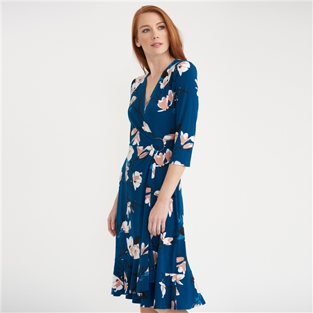 Joseph Ribkoff Camillia Print Wrap Dress  - Click to view a larger image