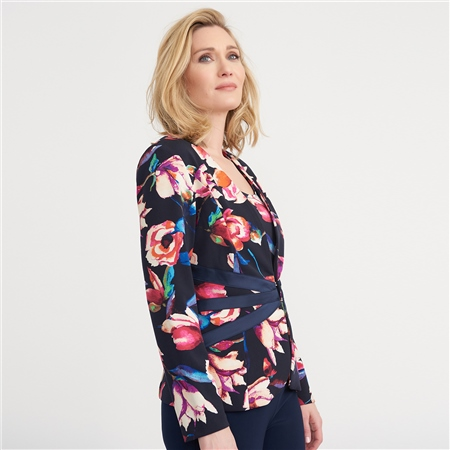 Joseph Ribkoff Floral Print Waist Detail Jacket And Camisole Twinset  - Click to view a larger image