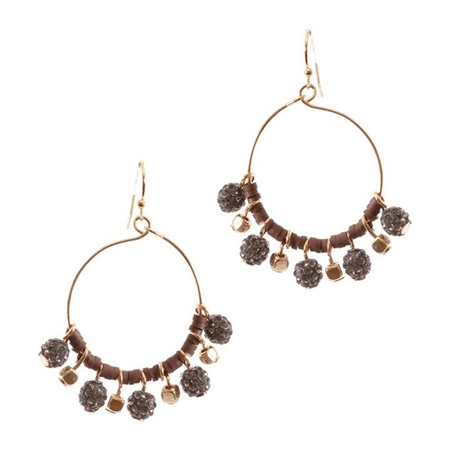 Hill & How Hoop Cluster Earrings - Brown