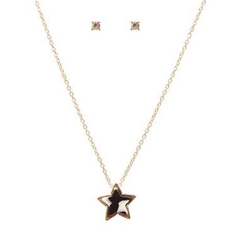 Hill & How Delicate Tortoiseshell Star Necklace Set - Black