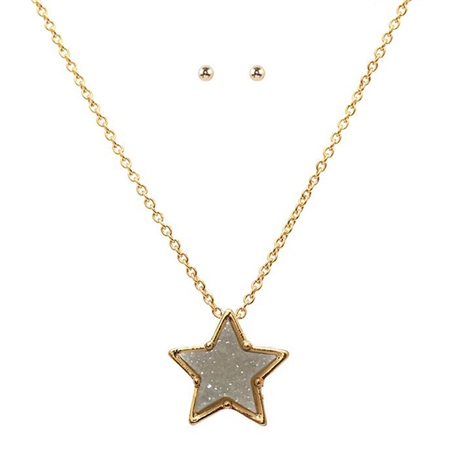 Hill & How Delicate Druzy Star Necklace Set - Grey