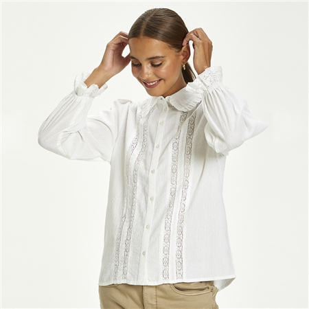 Cream 'Dova' 100% Cotton Frill Detail Shirt  - Click to view a larger image