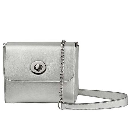 Alison Van Der Lande 'Milly' Metallic Leather Crossbody Bag - Silver