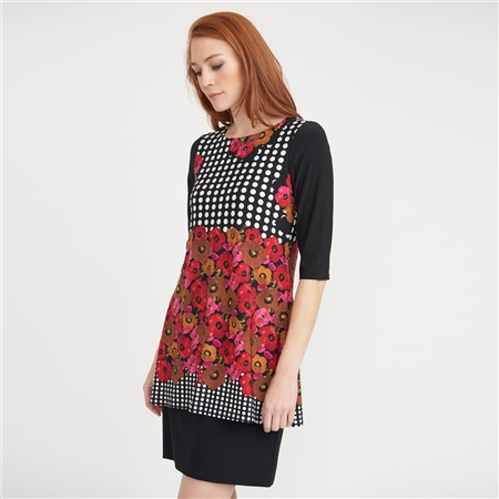 Joseph Ribkoff Layered Floral and Spot Print Dress  - Click to view a larger image