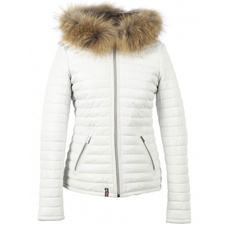 Oakwood 'Happy' Fur Hood Padded Leather Coat - White  - Click to view a larger image
