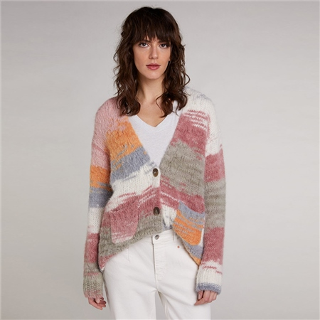 Oui Soft Knit Alpaca Blend Cardigan - White Red  - Click to view a larger image