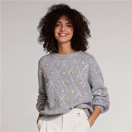 Oui Embroidered Hearts Wool Blend Jumper - Light Grey  - Click to view a larger image