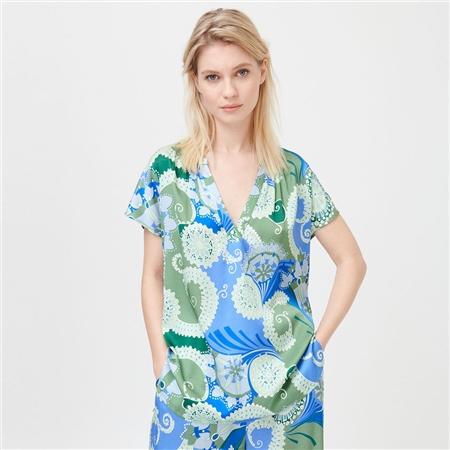 Dea Kudibal 'Ann' Abstract Floral Print Stretch Silk Top - Khanga Green
