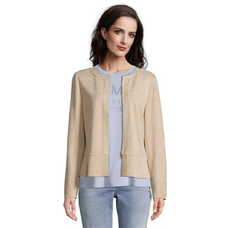 Betty Barclay Faux Suede Jacket - Latte Macchiato  - Click to view a larger image