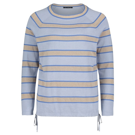 Betty Barclay Striped Drawstring Jumper - Light Blue Beige  - Click to view a larger image
