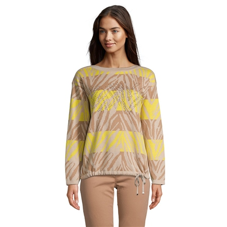 Betty Barclay Embellished Animal Print Jumper - Camel Yellow  - Click to view a larger image