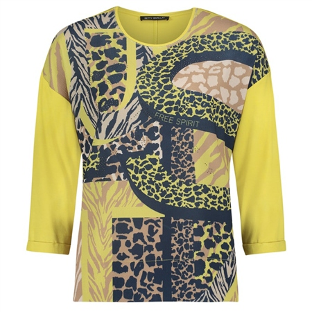 Betty Barclay Embellished Animal Print And Text Top - Yellow Dark Blue