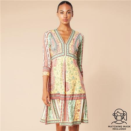 Hale Bob 'Lea' Paisley Print V-Neck Dress - Gold