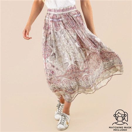 Hale Bob 'Carina' Paisley Print Silk Skirt