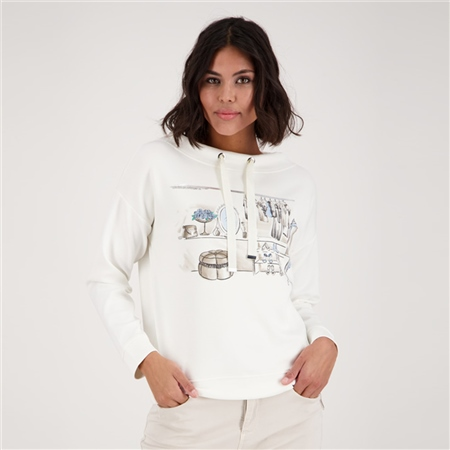 Monari Sweatshirt-Inspired Jersey Pullover With Motif  - Click to view a larger image