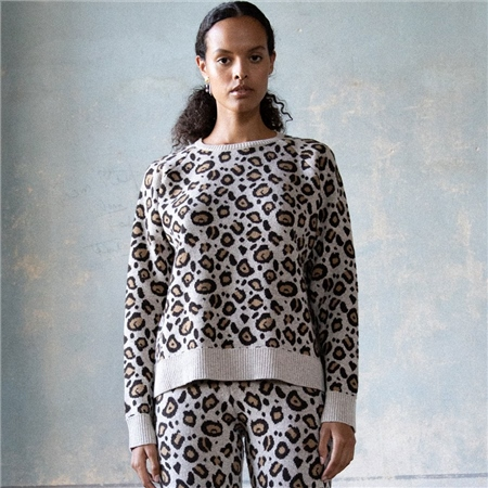 Ragdoll Cashmere Blend Leopard Print Sweater  - Click to view a larger image
