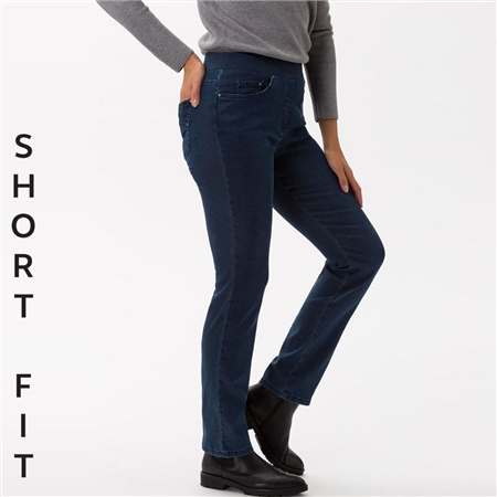 Brax 'Pamina' Short Fit Pull-On 5-Pocket Jeans - Stoned Denim  - Click to view a larger image