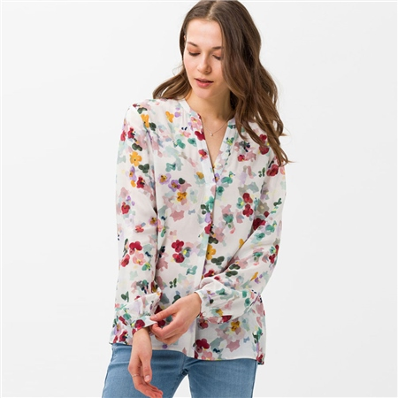 Brax 'Vian' Painterly Floral Print Blouse - Off White 1