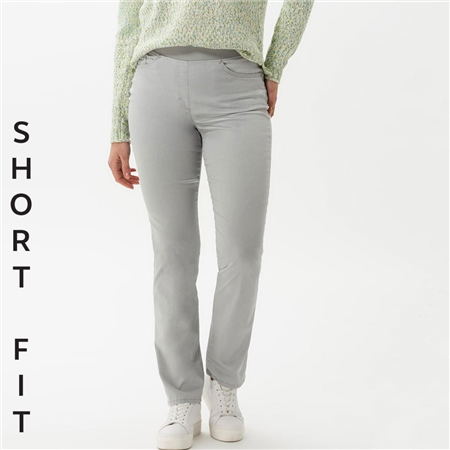 Brax 'Pamina' Short Fit Pull-On Cotton Trousers - Smoke Grey  - Click to view a larger image
