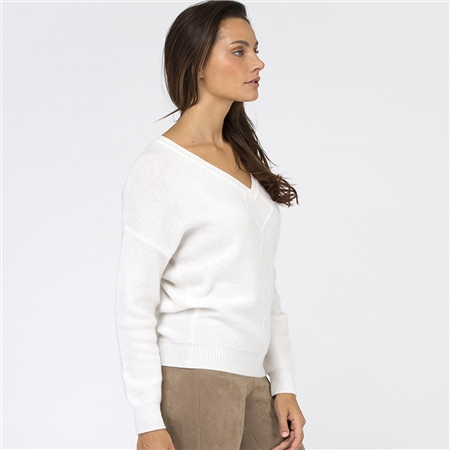 Van Kukil Cashmere V-Neck Cashmere Diamond Weave Jumper - White  - Click to view a larger image