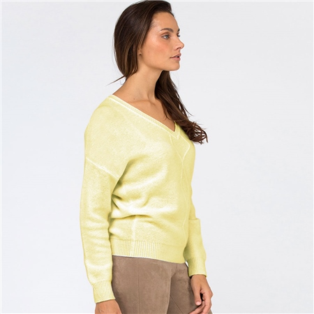 Van Kukil Cashmere V-Neck Cashmere Diamond Weave Jumper - Yellow  - Click to view a larger image