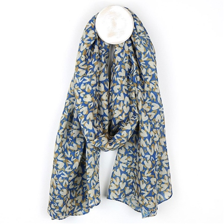 Peace Of Mind Heart Print Recycled Scarf - Blue/Taupe 1