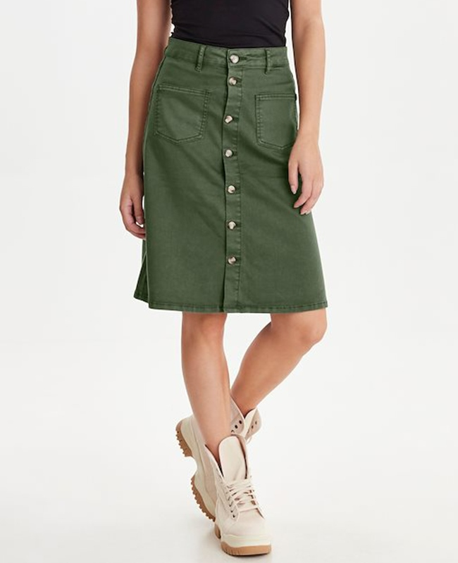 Pulz 'PzDitte' Cotton Blend Button Through A-Line Skirt - Beetle 1