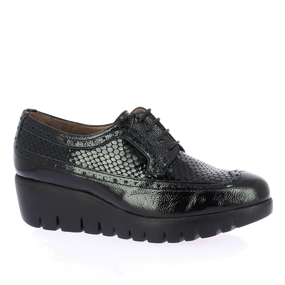 Wonders Patent Croc Wedged Brogues - Black 1